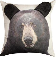3D Bear Face Throw Pillow. A fun rustic lodge pillow! #beardecor #lodgedecor #rusticdecor #throwpillows