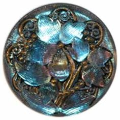 "1 1/8"" Aqua/Purple Glass Button w/ Flower, Leaves and Gold (28mm)"