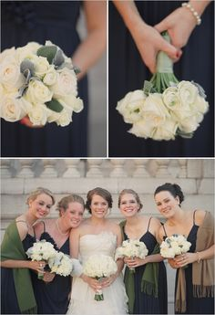 You could do the black bridesmaids dresses for gold shawls and berry red or just one or the other....or give maid of honor gold and the rest red or every other girl....thought be pretty for the seasonal wedding