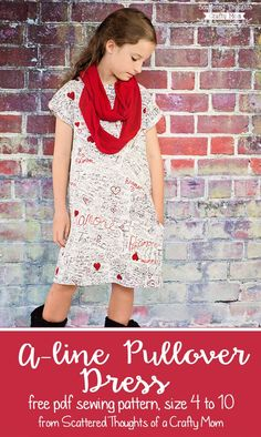 I have a new girls sewing pattern to share with you today!  A simple A-line, Pullover Dress, designed to be sewn with knit fabric.  Pin the pattern here to save ==>> Remember the cute little A-line dress I showed off in our Back to School pictures a few weeks back?  I finally have the multi-sized ... Read More about  Girls A-line Pullover Dress, Free Pattern size (4 to 10)