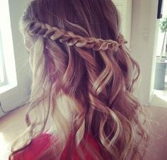 Braid it back and Curl the rest, cool easy style