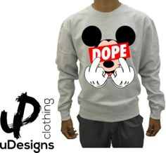 Mickey Mouse Dope Finger Jumper Sweater Sweatshirt Hood Hoody dis obey Boy Swag