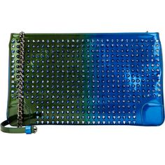 Christian Louboutin Loubiposh Studded Clutch (2,205 BAM) ❤ liked on Polyvore featuring bags, handbags, clutches, blue, christian louboutin purse, chain purse, blue purse, blue studded purse and blue studded handbag