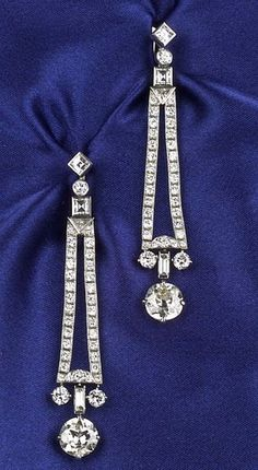 Art Deco Platinum and Diamond Earpendants