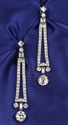 Art Deco Platinum and Diamond Earpendants