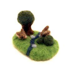 Needle Felted Rabbit Woodland Tiny Set Figures Felt Waldorf Art by Karen Watkins kmwatkins
