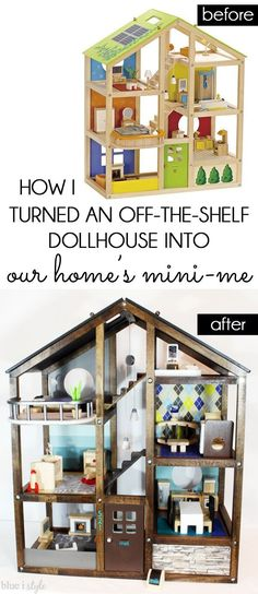 DIY DOLLHOUSE DECORATING! Customize an off-the-shelf dollhouse to make it look like your own home. It's perfect for girls or boys, and it's a gift the will treasure for many years to come! Read the full tutorial for all the DIY details that transformed this Hape wood dollhouse!