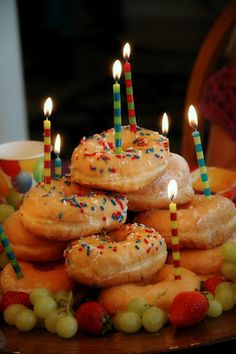 nannygoat: Doughnut Cake... Because candles can come out at breakfast too!