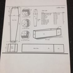 Measurements used for all of the coffins.