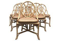 Hekman Rattan Chairs, S/6