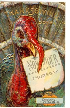 Vintage Thanksgiving Postcard...found some of these and used them as napkin rings this year on my table!  So pretty!