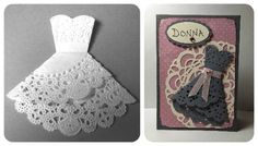 DIY paper doily wedding dress bridesmaid cards