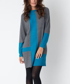 Another great find on #zulily! Yuka Paris Gray & Turquoise Color Block Shift Dress by Yuka Paris #zulilyfinds