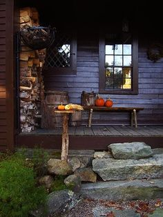 rustic stone steps; darkening light of Fall made bright by autumnal color