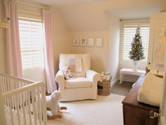 Jenny Steffens Hobick: Emma's Room | Soft Pink & Ivory Room with Holiday Touches