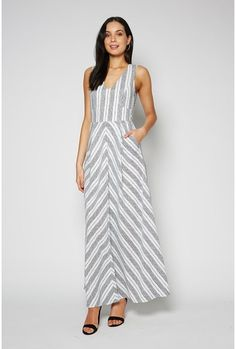 Chevron Stripe V Neck Dress ivory/black 1