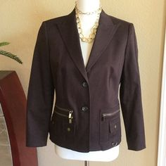 """Michael Kors BRAND NEW dark brown cotton blazer Michael Michael Kors BRAND NEW dark chocolate brown cotton blazer. Absolutely gorgeous with the brass colored details of zippers and buttons. Fully lined and in excellent condition never worn. Perfect all year round. Measures 26"""" long 19"""" across bust 17"""" across waist and 22.5"""" long sleeves. 216-241 MICHAEL Michael Kors Jackets & Coats Blazers"""