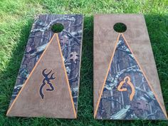 Browning His & Hers Cornhole boards Outdoor Projects, Wood Projects, Woodworking Projects, Craft Projects, Cornhole Designs, Wood Crafts, Fun Crafts, Arts And Crafts, Bean Bag Games