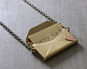 Marry me necklace envelope locket engagement gift for her love brass copper heart retro Valentines Day
