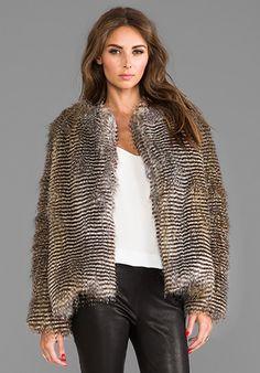 Naven Puffer Faux Fur Jacket in Brown