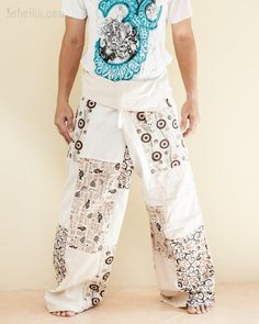 These Extra Long fisherman pants are one-of-a-kind, individually handmade, hence each one is totally unique and original. Made from carefully selected pattern fabric Yoga Trousers, Harem Pants, Thai Fisherman Pants, Burning Man Outfits, Hippie Pants, Ideal Fit, Plus Size Pants, Patchwork Designs, Pants Pattern