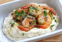 Shrimp Piccata over Rich Parmesan Cauliflower Mash Shared on https://www.facebook.com/LowCarbZen   #LowCarb #Shrimp #Cauliflower