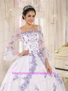 Lilac Embroidery Decorate On White Organza Square Neckline Quinceanera Dress