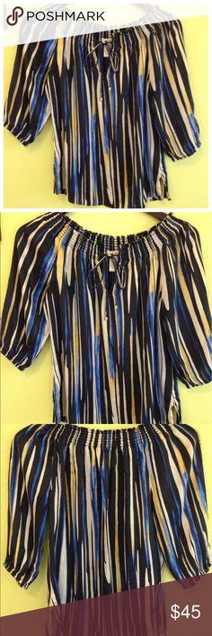 CACHE Silk Satin On/Off shoulder Top CACHE Silk Satin On/Off shoulder Top, Size M Cache Tops