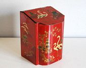 English Tin Box, Baret Ware Red Chinoiserie Canister, Asian Kitchen Decor, Metal Canister, Flamingo Birds Pagodas, Vintage Storage Container
