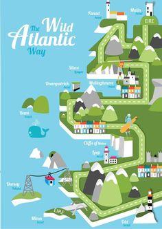 Reddin designs illustration ireland map. Malin, Fanad, Slieve League, Mullaghmore Head, Downpatrick Head, Keem Beach, Cliffs of Moher, Aran Islands, Loop Head, Dursey Island, Mizen Head, Eire, Old Head, Cottages, Sailing, Surf, Lake, Islands