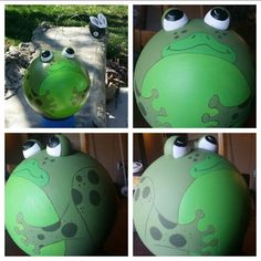 My bowling ball frog I painted for my flower bed. Love the way the fly bobs when the wind blows.