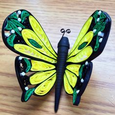 Quilled Green and Yellow Paper Butterfly - Ginger Evenson Arts