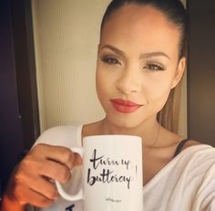 """The lovely Christina Milian showing a little #CDLove with our """"Turn Up, Buttercup!"""" Mug. ❤️❤️"""