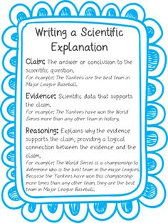 Claim, Evidence, Reasoning Anchor Chart Perfect anchor chart when introducing the claim, evidence, reasoning framework for writing a scientific explanation! Print it out and enlarge it or minimize it for use in their interactive science notebooks! Scientific Writing, Science Writing, Teaching Writing, Teaching Science, Science Education, Scientific Method, Physical Science, Waldorf Education, Essay Writing