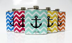 Bridesmaid Gift Anchor Flasks 5 Custom Wedding Party Favors Nautical Chevron with Names Stainless Steel 6 oz Liquor Hip Flask LC-1248