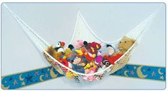 Store stuffed animals in a toy hammock. / 25 Hacks To Make Room For A Baby In Your Tiny Home (via BuzzFeed)