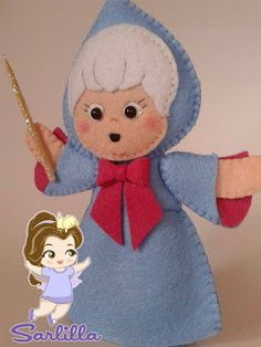 The Sarlilla creations: The Fairy Godmother and Cinderella . Felt Puppets, Felt Finger Puppets, Hand Puppets, Felt Patterns, Stuffed Toys Patterns, Disney Felt Ornaments, Disney Crafts, Felt Diy, Felt Dolls