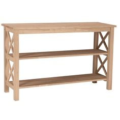 Side X details and two convenient lower shelves makes this long table the perfect choice for any home or office. Stain or paint this unfinished table to match or be a pop of color to your existing decor.