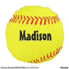 Custom Round Softball Pillow