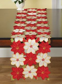Table runner Poinsettia floral xmas party holiday Christmas decoration 70 x 13 Christmas Runner, Christmas Holidays, Christmas Crafts, Christmas Decorations, Table Runner And Placemats, Table Runner Pattern, Table Runners, Poinsettia, Xmas Party