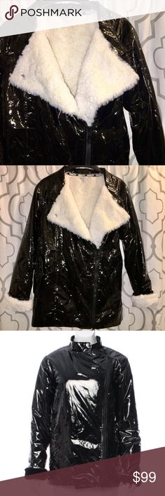 Rebecca Minkoff Patent Leather Faux Fur Jacket Black Rebecca Minkoff vegan patent leather jacket with standing collar, dual flap pockets, logo trim at cuffs, faux white fur lining and asymmetrical zip closure at front. Size small. It's a sample, so there is no tag with fabric specifics. Not real Patent leather or fur. Pictures don't do this jacket justice! Never worn. NWOT.  On here to declutter, 🚫 trades. If I want something in your closet badly enough, I'll buy it 😍 Reasonable offers…