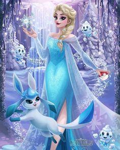 Princesas Disney em Pokémon GO Disney Fan Art, Disney Pixar, Disney E Dreamworks, Animation Disney, Disney Artwork, Disney Princess Art, Disney Frozen Elsa, Disney Drawings, Disney Love