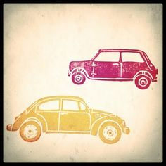 VW Beetle and Mini Minor car stamps, from Chantal Vincent #handcarved_stamps #stamping #printing