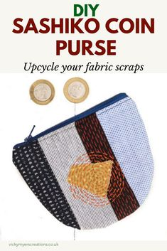 Love working with your fabric scraps? Stitch up a sashiko inspired coin purse with this free coin purse pattern. the step by step tutorial will teach you how to sew a coin purse with zipper. Diy Coin Purse, Coin Purse Pattern, Coin Purse Tutorial, Coin Purses, Bag Patterns To Sew, Sewing Patterns Free, Sewing Tutorials, Free Sewing, Sewing Tips