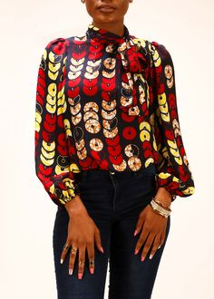 Fana African Print Chiffon Bow Blouse (Red Circles)