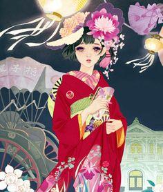 taishou-kun:  Matsuo Hiromi マツオヒロミ Taishou shoujo illustration - 2010s