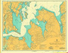 A beautiful, high quality print of the historical map of Long Island Sound and East River from 1939. This map is professionally printed on top of the line digital equipment. It is printed on high qual