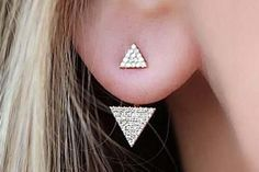 Minimal Cute Boho Ear Piercing Jewelry - Sukiomi Crystal Triangle Ear Jacket Earring in Gold or Silver - MyBodiArt.com