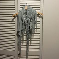 Fun Fringe Jersey Scarf! Fun, flirty, fringe scarf! Dress it up or dress it down! Worn a couple times- in perfect condition! Gray/blue color. Accessories Scarves & Wraps