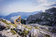 OFIS constructs alpine shelter for climbers of slovenia's skuta mountain